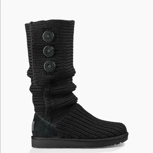 Ugg black cardy knit boots women's 7